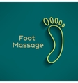Bright foot massage sign and logo on dark green vector image