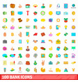 100 bank icons set cartoon style vector image vector image