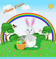 a charming rabbit with a basket easter eggs vector image