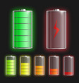 batteries mockups set with power level indicators vector image