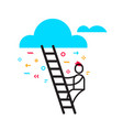 business of man stepping up a ladder to cloud vector image