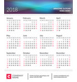 calendar poster for 2018 year week starts on vector image vector image