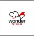 cartoon dog pet care logo template vector image vector image