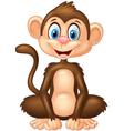 Cartoon monkey sitting on white background vector image vector image