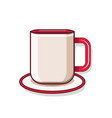 cartoon style mug with saucer on white background vector image