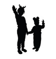 child silhouette playing in black color vector image vector image