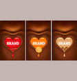chocolate background with heart and chilli orange vector image vector image