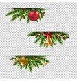 christmas garland set transparent background vector image
