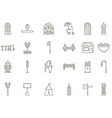 City elements black icons set vector image
