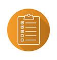 clipboard checklist flat linear long shadow icon vector image vector image