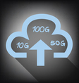cloud with upload arrow icon on grunge background vector image
