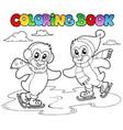 coloring book skating penguins vector image vector image
