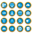 construction icons blue circle set vector image vector image