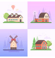 country landscape - set of modern flat design vector image vector image
