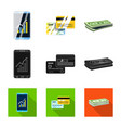 design of bank and money icon set of bank vector image