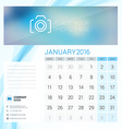 Desk Calendar for 2016 Year January Stationery vector image vector image