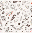doodle floral branches seamless pattern vector image vector image