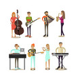 flat icons set musician characters vector image