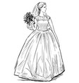 freehand drawing young happy bride with bouquet vector image