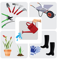 Gardening colorful icons set vector image vector image