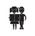 girl and a boy reading black concept icon vector image