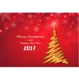 Gold ribbon make Christmas tree shape on red snowf vector image vector image