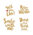 Hand lettering golden quotes set vector image vector image