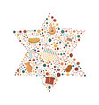 hanukkah holiday flat design icons set in star of vector image vector image