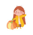 happy thanksgiving day cute little girl with coat vector image