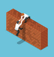 isometric businessman help his friend to climbing vector image