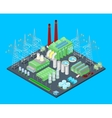 Isometric Nuclear Power Station with Pipes vector image