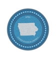 label with map iowa denim style vector image