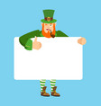 leprechaun holding banner blank gnome and white vector image