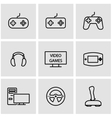 line video games icon set vector image vector image