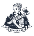 lumberjack woman with axe female axeman for logo vector image vector image