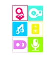 Music icons in neon colors flat design vector image vector image