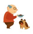 old man feeding hungry dow with tongue stick out vector image