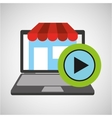 online store shopping video player graphic vector image