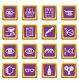 ophthalmologist icons set purple square vector image vector image