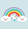 pastel rainbow with unicorn vector image vector image