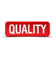 Quality red 3d square button isolated on white vector image vector image