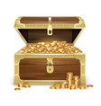 Realistic wooden chest with coins
