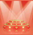 red scene with golden hearts and lighting vector image vector image