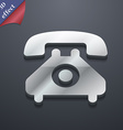 retro telephone handset icon symbol 3D style vector image vector image