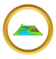 River avd mountains icon vector image