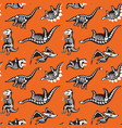 seamless pattern with cute scary silhouettes vector image