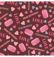 Seamless pattern with tasty macaroons hearts and vector image vector image