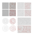 set of different labyrinths with solutions vector image