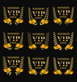 set of gold vip monograms for graphic design on vector image
