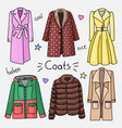 set of hand drawn women clothes coats vector image vector image